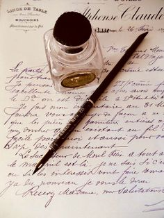 This listing is for two antique/vintage calligraphic items: A 1911 Sanford Fountain Pen Ink embossed bottle with original label and the Writing Paper, Letter Writing, Old Letters, Fountain Pen Ink, Fountain Pen Vintage, Dip Pen, Pen Nib, Vintage Lettering, Book Aesthetic