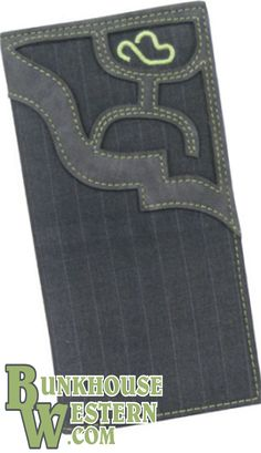 HOOey, Gray Pinstripe Rodeo Wallet with leather HOOey-Man Cutout, Cowboy, Calf Roping, $39, Get it now @ http://www.bunkhousewestern.com/7755_p/7755.htm