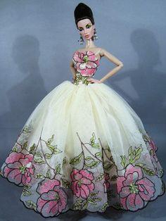 fashion doll, flower dress