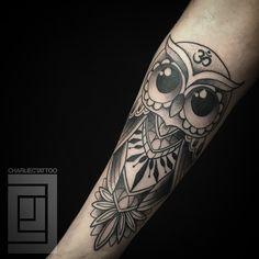 Big Eyes Owl Arm Tattoo