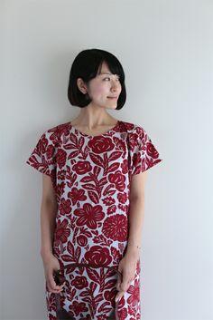 "100% natural ""muslin"" wool no sleeve dress with woodcut print. #sousou, wood cut print, kyoto, kimono, dress"
