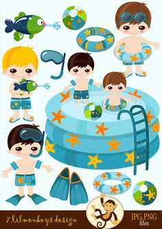 pool party clip art | Pool Party - Lil Boys - Digital Clip Art Set - pool, beach ball, cute ...