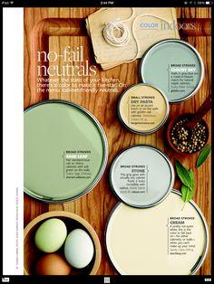 No-Fail Neutrals for Your Kitchen Cabinets~Source: bhg.com