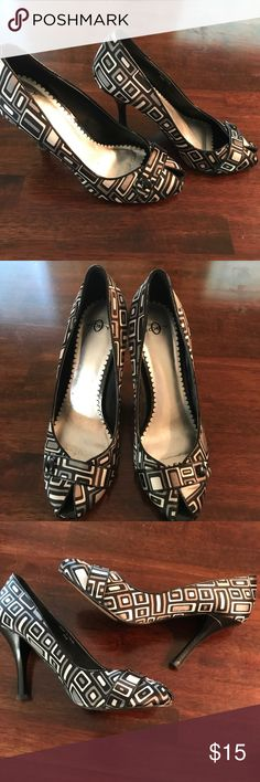Geometric Black & Gray Pumps Very good condition geometric heels. Worn a few times. The bottoms show wear, but the actual shoe is like new. Great accent shoe for a more neutral outfit. Joey O Shoes Heels
