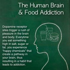 "Why do we get addicted to food ?  We train our brains in all sorts of ways, and one of the biggies is how we fuel our bodies. The more we repeat a behavior, the more neural pathways we lay down. All this means, is that we're hardwiring habits for our brains so that eventually, we'll run on ""auto-pilot"". This is great if we're running positive behavior patterns that enhance our health and quality of life, if not, we're going backwards."
