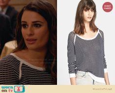 Rachel's navy and white striped sweater on Glee.  Outfit Details: http://wornontv.net/32459/ #Glee