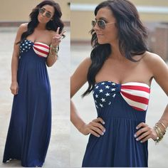 Strapless American Flag Print Long Dress