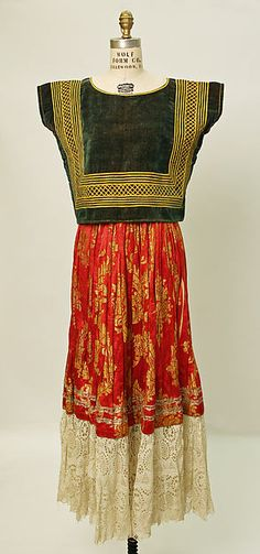 Ensemble Date: 20th century Culture: Mexican Medium: cotton, silk, metallic Dimensions: (a) Length at CB: 15 in.  (b) Length: 40 1/2 in.  (c) Length at CF: 26 in.  Credit Line: Purchase, Irene Lewisohn Bequest, 1950 FROM MMOA
