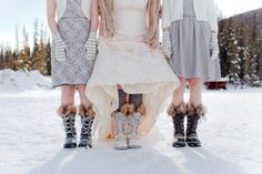Winter boots for bride and bridesmaid | Naturally Chic wedding planner. #winter wedding #emeraldlakewedding