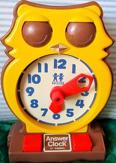 Vintage owl toy clock by Tomy 1975. $14.00, via Etsy.