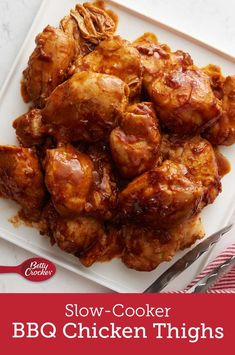 Meet your new favorite party dish! Sweet and smoky with just the right amount of spicy kick, these barbecue chicken thighs are a crowd pleaser that'll make every host's life a little bit easier. Crock Pot Recipes, Slow Cooker Recipes, Chicken Recipes, Cooking Recipes, Casserole Recipes, Hamburger Casserole, Cheesy Recipes, Chicken Casserole, Kitchen Recipes