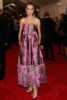 Alexa Chung in Erdem: Alexa Chung always manages to add her own signature flavor to any red carpet ensemble — especially when it comes to her preference for sensible flats — and she was able to bring that quirky sensibility to this silk floral gown by Erdem. She's also one of the only women in attendance whose cat eye didn't read as slightly offensive, most likely because it's long been her go-to beauty look, but it doesn't hurt that she's of Chinese descent.