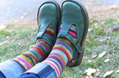 amazing knitted stripey socks and mary jane shoes