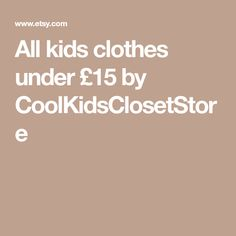 All kids clothes under by CoolKidsClosetStore All Kids, Etsy Seller, Creative, Clothes, Outfits, Clothing, Kleding, Outfit Posts, Coats