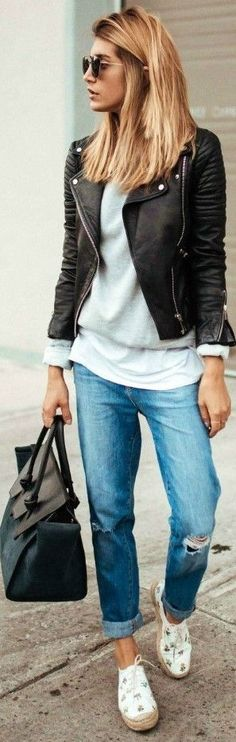 483b6df6ced0 Women Clothing Cristina Monti keeps it cool and casual pair of distressed  boyfriend jeans classic style white tee sweater leather biker jacket pair  of ...