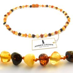 <3 www.ambercrown.com <3 #Amber #Teething #Necklace for #Babies - Perfect #gift!