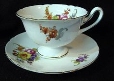 SHELLEY England A2286 CUP & SAUCER (s) Multi Floral & Gold Trim