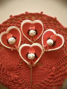 VINTAGE RARE SET OF 4 SPUN COTTON HEAD VALENTINE GIRLS FLOCKED HEARTS CAKE PICKS