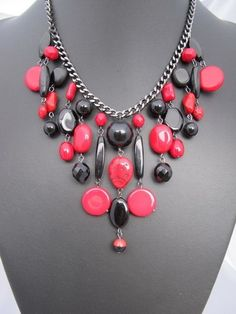 Cascade with red and black beads