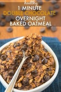 Healthy Double Chocolate Overnight Baked Oatmeal- The taste and texture of real baked oatmeal, minus ALL the fuss- Secretly healthy and SO easy! {vegan, gluten free, sugar free recipe}- thebigmansworld.com