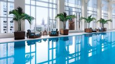 The view from the @Peninsula Chicago can't be beat! It was recently named one of the Top 10 Indoor Hotel Pools for Kids by @TravelMamas ColleenLanin