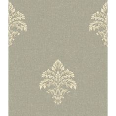 Saint Augustine Paper White, Antique Gold, Gray And Pewter Neoclassical Damask Wallpaper Y