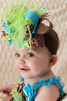 Your tiny little treasure will look stupendous in this lime green and turquoise giraffe hair bow or Over the Top hairbow from Beautiful Bows Boutique. #Handmade in artistic ... #handmade #etsy #overthetop #babygirl #bigbows #babyheadbands #sale #girls #feather #toddler