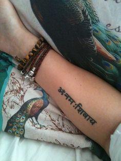 Tattoo - om namah shivaya - i am shiva - sanskrit mantra - hindi