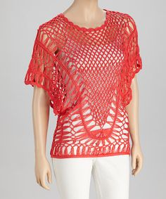 Take a look at this Coral Crocheted Short-Sleeve Top by SR Fashions on #zulily today!