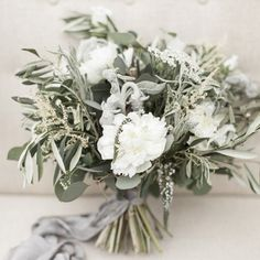 Beautiful Sage Green and Grey hand tied wedding bouquet