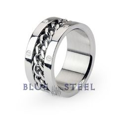 PIN IT TO WIN IT! Shackles: The Shackles ring is crafted in a modern industrial design. A solid chain of steel is chained around the center of the indented band of the shining reflective steel ring.   $29.99  www.buybluesteel.com