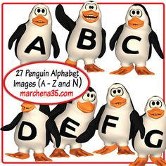 Penguin Alphabet Clip Art Set -  27 Images (A - Z plus Ñ)