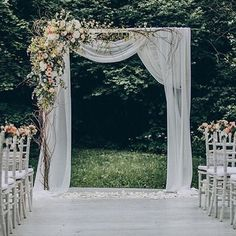 Outdoor Wedding Ceremonies Really pretty style of drapery and basic wedding arch shape. The flower arrangment is a little much. Wedding Arbors, Wedding Ceremony Arch, Wedding Ceremonies, Floral Wedding, Rustic Wedding, Wedding Flowers, Outdoor Wedding Decorations, Altar Decorations, Centerpiece Ideas