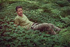 """Brad Pitt: """"I will always be most comfortable in the outdoors. I grew up in the Ozarks—something resembling Mark Twain country. The woods, rivers, bluffs, lakes, and caves have all left an indelible mark on me. And I'm quite reverential when it comes to a tree. On my forearm, I had tattooed '94.9m (311.4ft)'—the height of the largest sequoia."""""""