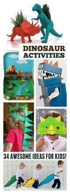 34 Awesome dinosaur activities for kids! From costumes to crafts these activities would be prefect for a dinosaur unit or halloween. Toddler Fun, Toddler Crafts, Toddler Activities, Dinosaurs Preschool, Preschool Activities, Dinosaur Crafts Kids, Dinosaur Party Activities, Dinosaurs For Kids, Dinasour Crafts