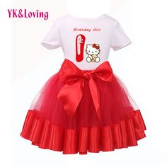 c4ef4dee362 Check current price New Arrival 2017 Kitty Similar Cute Baby Girl 1st  Birthday Short Sleeve T