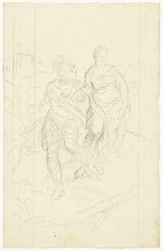 anoniem | Romeinse krijger die een vrouw meevoert, possibly Dionys van Nijmegen, 1715 - 1798 |