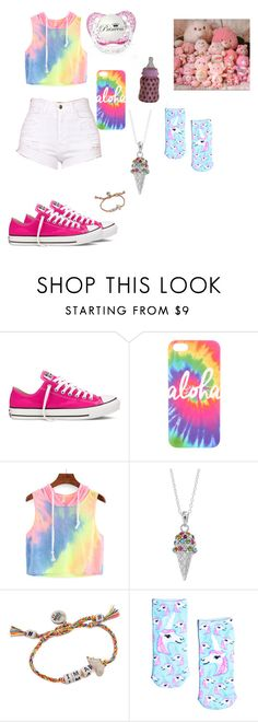 """Pretty rainbow"" by paigempickens2001 ❤ liked on Polyvore featuring Converse, Sterling, Venessa Arizaga and Living Royal"