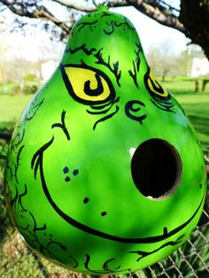 the grinch gourd | The Grinch Hand Painted Gourd Birdhouse Spectcular Gift for The Grinch ...