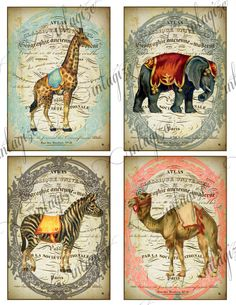 COMPLETE  de CIRQUE  COLLECTION  Instant Art Original French Circus - Ready for Framing, Invitations, Cards, Quilts, Etc-Digital Download. $50.00, via Etsy.