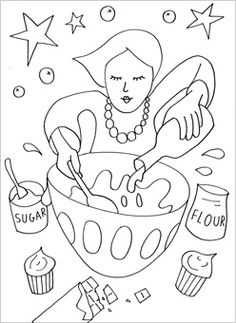 people coloring page baking