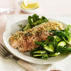 Horseradish Salmon with Cucumbers and Spinach by goodhousekeeping: This low-calorie, hearty-healthy dish is a perfect dinner for the whole family. The horseradish becomes mild during cooking and keeps the salmon moist and flavorful. #Salmon #Horseradish #Healthy #Light