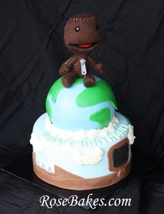 This is a Little Big Planet Birthday Cake for my son's 14th birthday video game party. Sackboy was the cake topper.