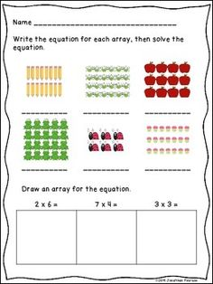 MULTIPLICATION WITH ARRAY ACTIVITY BUNDLE - 3 ACTIVITIES PERFECT FOR CENTERS - This bundle has three activity sheets (great for homework or assessment), 3 Cut and Match activity sheets, and an Array Hunt and Match Game (with 12 arrays and 12 multiplication fact cards).