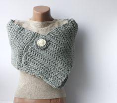 Grey wool scarf crochet chunky Light neutral Spring accessories Fall fashion. $20,00, via Etsy.