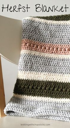 Looking for an easy crochet blanket with some texture? The Herfst Blanket is a beginner throw blanket crochet pattern, combining different basic stitches to form irregular elegant stripes. Grab your afghan crochet pattern here. Chevron Crochet Blanket Pattern, Striped Crochet Blanket, Easy Crochet Blanket, Wool Blanket, Crochet Blankets, Crochet Afghans, Afghan Crochet Patterns, Knitting Patterns, Doilies Crochet