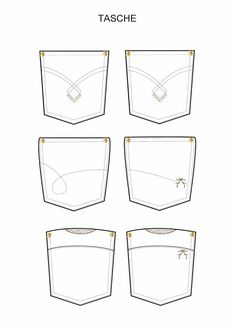 Trousers's Pockets by Lorena Cangiano Fashion Design Template, Fashion Templates, Fashion Design Sketches, Flat Drawings, Flat Sketches, Types Of Clothing Styles, Sewing Pants, Pocket Pattern, Fashion Flats