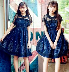 Cute harajuku lolita stars printing two-piece dresses
