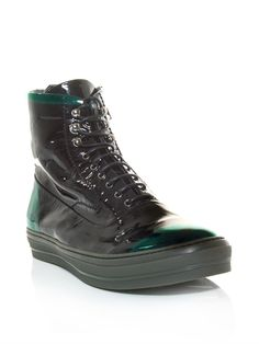 Alexander Mcqueen Patent Leather High Top Trainers in Black