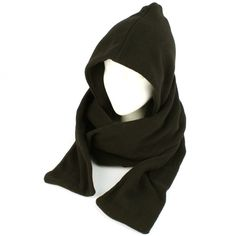 Winter Fleece Hooded Scarf Pullover Headscarf Neckwarmer Hoodie Ski Hat, Black